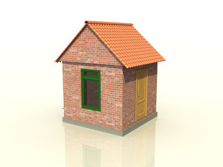 A brick house on the mirror surface №1