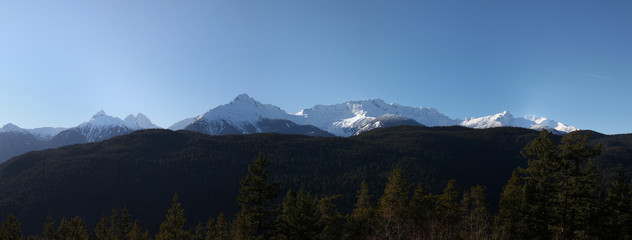panorama of mountains along BC's coast