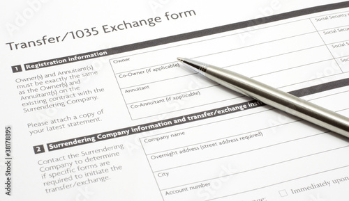 Section 1035 Exchange Paper Form with a Silver Pen
