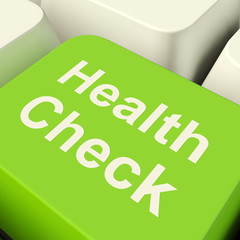Health Check Computer Key In Green Showing Medical Examination