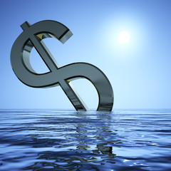 Dollar Sinking And Sun Showing Depression Recession And Economic