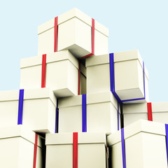 Stack Of Giftboxes With Sky Background As Presents For The Famil