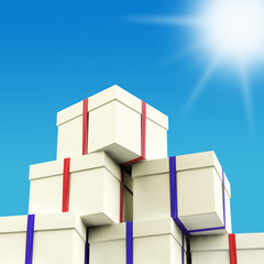 Stack Of Giftboxes With Sun And Sky Background As Presents For T