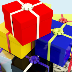 Multicolored Giftboxes   As Presents For The Family Or Friends