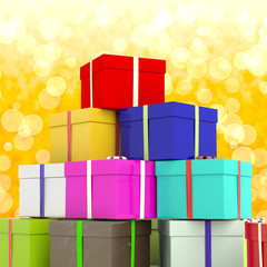 Multicolored Giftboxes  With Yellow Bokeh Background As Presents