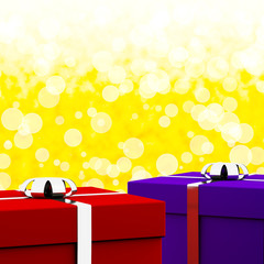 Red And Blue Gift Boxes With Yellow Bokeh Background As Presents