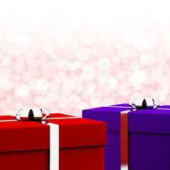 Red And Blue Gift Boxes With Bokeh Background As Presents For Hi