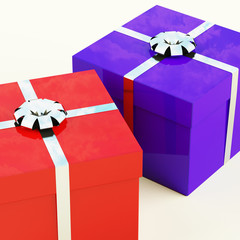 Red And Blue Gift Boxes With Silver Ribbons As Presents For Him