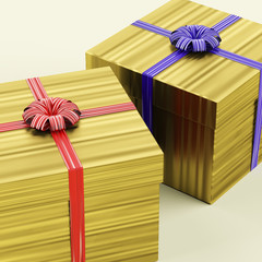Gold Gift Boxes With Ribbon As Birthday Present