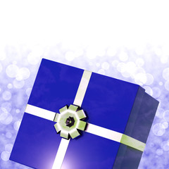 Blue Giftbox With Bokeh Background For Mens Birthday