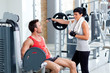man and woman friends on sport gym relaxed