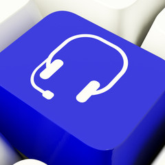 Headset Symbol Computer Key In Blue Showing Communiction And Onl