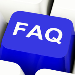 FAQ Computer Key In Blue Showing Information And Answers