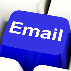 Email Computer Key In Blue For Emailing Or Contacting