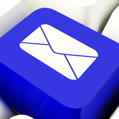 Envelope Computer Key In Blue For Emailing Or Contacting