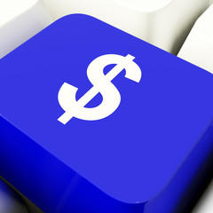Dollar Symbol Computer Key In Blue Showing Money Or Investment