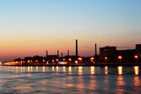 October embankment and Neva river after sunset poster