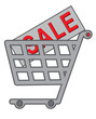 vector shopping cart with text SALE on purchase