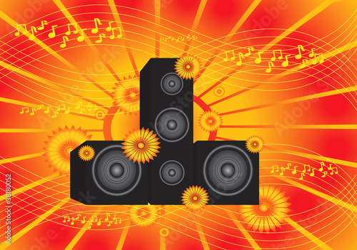 abstract orange vector music background