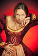 Medieval girl in the maroon dress