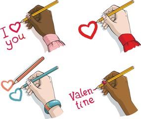 валентинов день. четыре женские руки с карандашами и сердечками