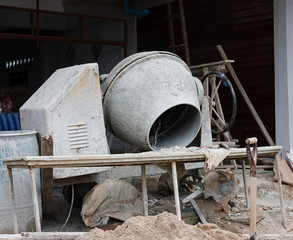 Industrial cement mixer machinery at construction site