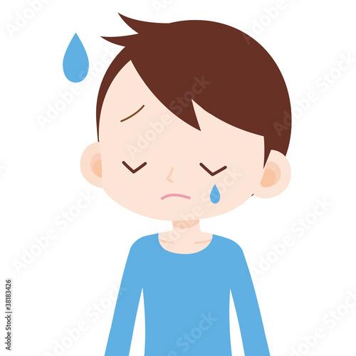 男の子 上半身 泣く