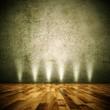 Wohndesign - Dekowand braun mit Lampen