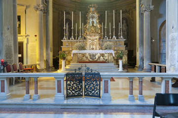 Church Altar in Duomo in Modena Italy