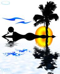détente bord piscine tropicale