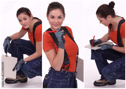young craftswoman wearing blue trousers