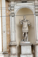 Hadrian Statue outside the Ducal Palace in Modena Italy
