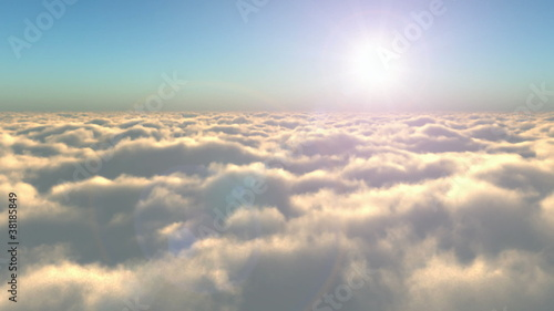Flight above the clouds