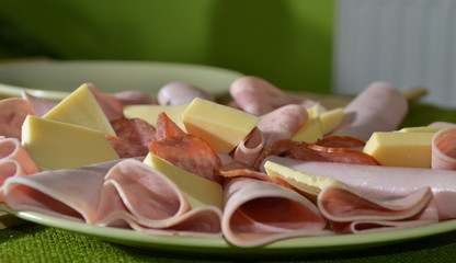 Slices of ham and cheese