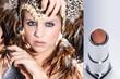 Junge Beauty Frau mit Federn Kopfputz blickt cool, Lippenstift