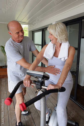 Senior couple working out