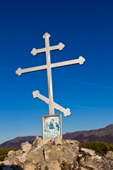 ghristian cross in a mountains