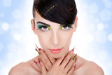 fashion woman model with glamour  makeup,  fancy nails