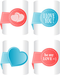valentines and wedding stickers or tags set