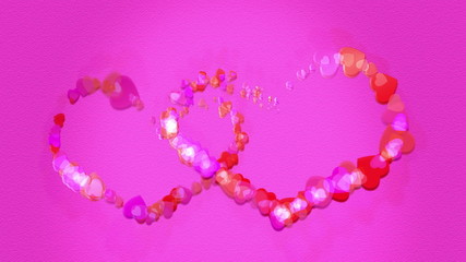 Cartoon hearts glitter to form two hearts with pink background