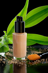 Foundation cream with a cosmetic brush and bamboo, isolated on b