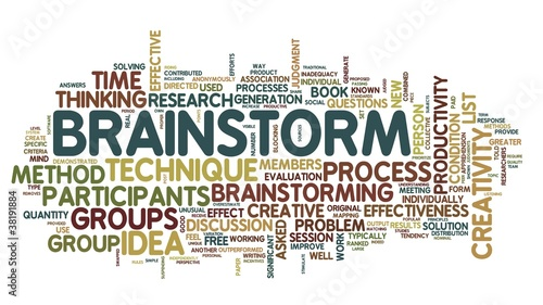 Brainstorm in word tag cloud on white background