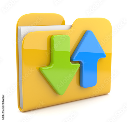 Folder and arrow.  3D icon. Date downloading. Isolated on white