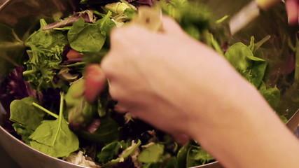 Preparing Arugula Salad