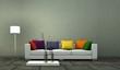 Wohndesign - Sofa mit bunten Kissen