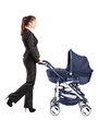 Young businesswoman pushing a baby stroller