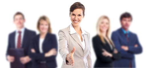 Business woman with handshake. Teamwork.