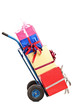 Studio shot of a hand truck with many gifts on it