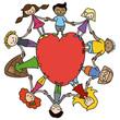 Kinderkreis, Herz, bunt