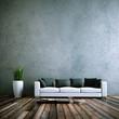 Wohndesign - Sofa weiss vor Betonwand - 38197812